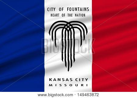 Flag of Kansas City in Missouri state of United States. 3D illustration