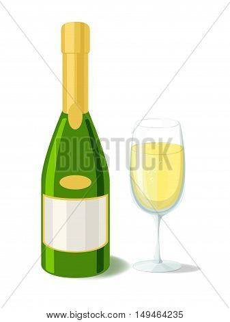 Alcohol. Champagne bottle filled with glass. Vector illustration