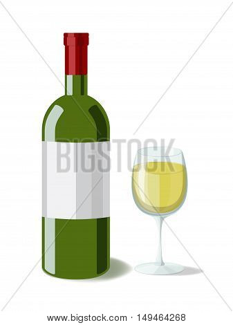 Alcohol. Bottle of white wine with a glass of wine. Vector illustration