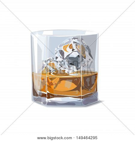 Alcohol. Whiskey shot with pieces of ice. Vector illustration on a white background