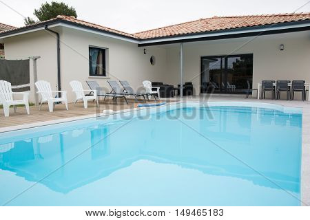 Beautiful Swimming Pool Close To A Modern House