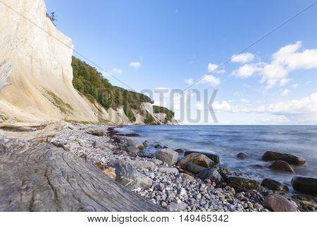 Long Exposure shot of the famous chalk cliffs at at Jasmund National Park, Ruegen, Germany