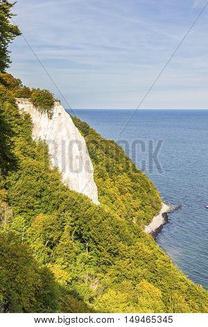 Famous Koenigsstuhl chalk cliff at Jasmund National Park on the island of Ruegen