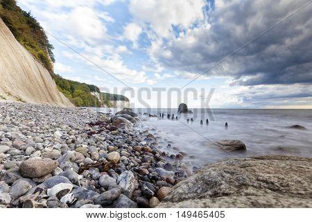 Long exposure shot of the chalk coast of Ruegen, Germany