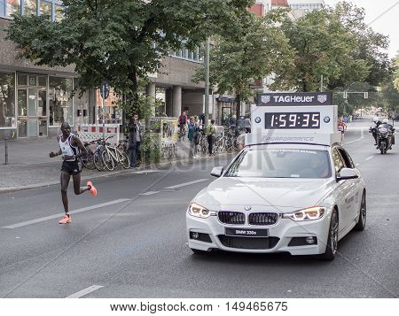 BERLIN GERMANY - SEPTEMBER 25 2016: Kenyan Marathon Runner Meshak Koech At Berlin Marathon 2016
