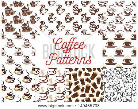 Coffee seamless pattern backgrounds. Vector patterns of coffee cup, coffee maker, vintage coffee mill, retro coffee grinder, coffee beans, cocktail glasses