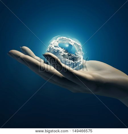 Earth in hand, 3d illustration