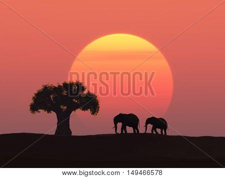 Two elephants at sunset, 3d illustration