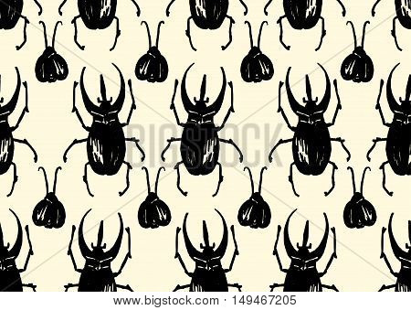 Repeating pattern made of sketched bugs on light background