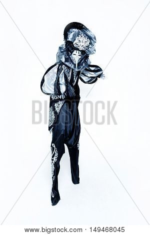 Beautiful black an white Venetian Carnival Masked man on white background
