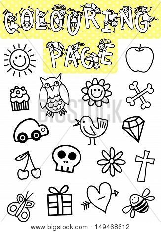 Kids colouring page with random black and white objects to colour in.