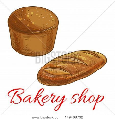 Bread icons for bakery shop. Vector pencil sketch of round rye bread and wheat bread loaf