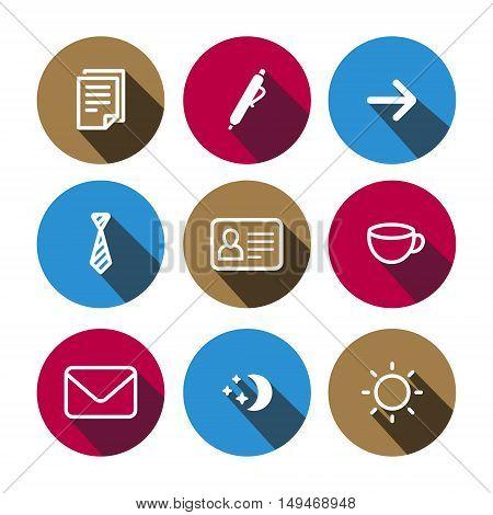 Flat outlinevector business multicolor (light brown magenta light blue) icons set