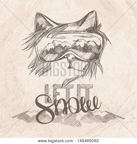 Graphic Poster With Cat Snowboarder And  Hand Drawn Phrase Lettering Let It Snow. Vector Illustratio