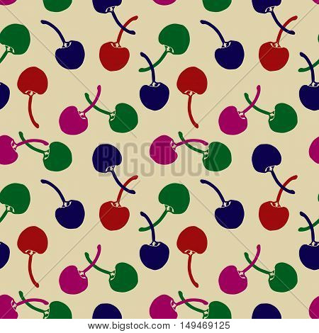 Beautiful seamless pattern with cherries.Texture for design