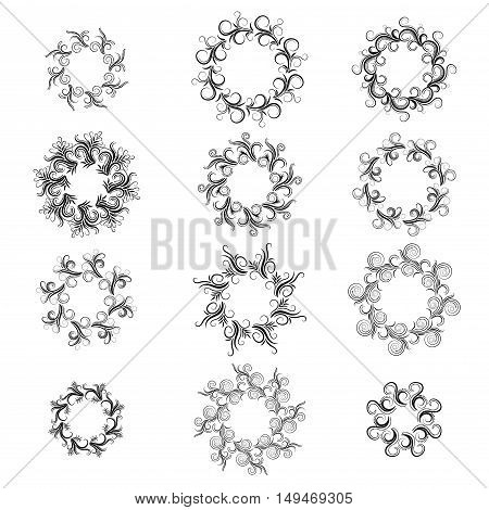 Curly black round frame set isolated on white. Vector illustration.