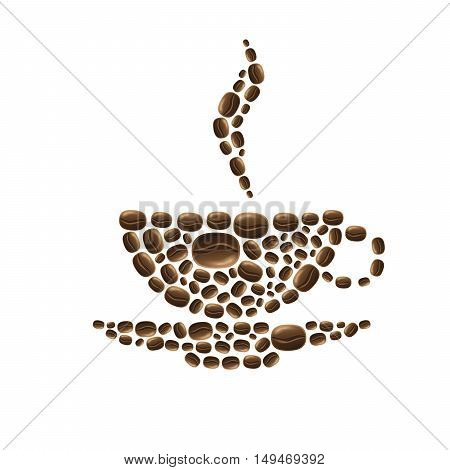 Cup of coffee beans on white background vector illustration