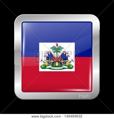 Flag Of Haiti. Metal Icon Square Shape