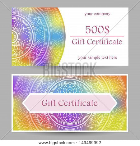Vector gift certificate template with rainbow mandala.