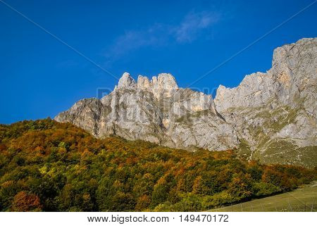 Autumn In  Mountains Of Europe Peaks In Spain