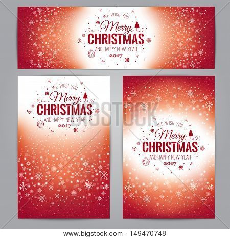 Christmas And New Year Cards With Typographical On Shiny Xmas Ba