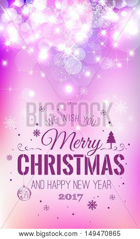 Christmas And New Year Typographical On Pink Xmas Background Wit