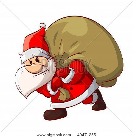 Colorful vector illustration of Santa Claus carring his huge bag with presents.