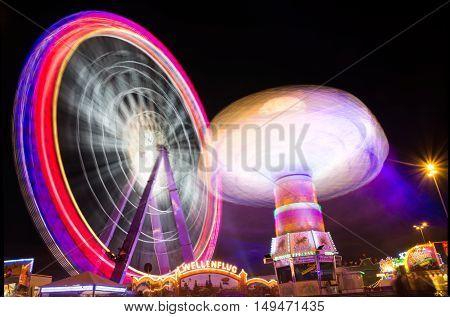 Ferris Wheel Spinning Swings Long Exposure Festival Rollercoasters Rides