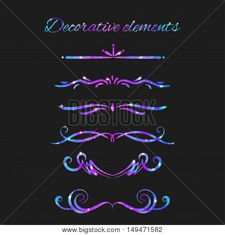 Vector Flourishes. Dividers Set. Hand Drawn Decorative Swirls With Glitter. Calligraphic Decorations With Sparkles. Space Texture. Glowing Stars Effect.