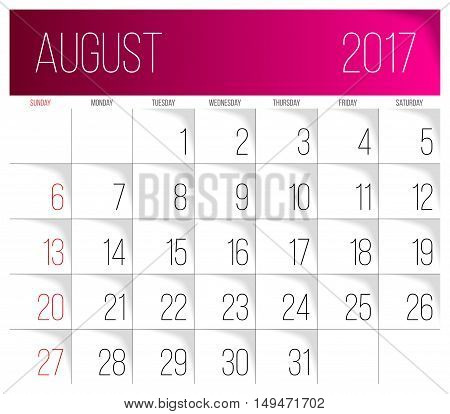 Calendar 2017 vector design template. August. Week Starts on Sunday.
