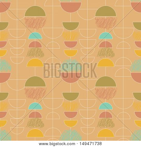 Seamless abstract geometrical vector pattern with semicircles in soft retro style colors.