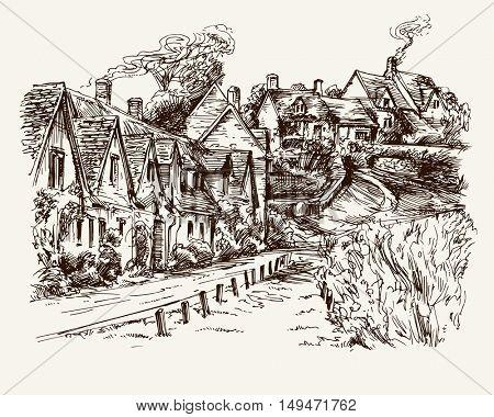 Houses of Arlington Row in the village of Bibury, England. Hand drawn illustration.