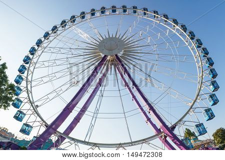Ferris Wheel Blue Sky Daytime Structure Festival Carriages