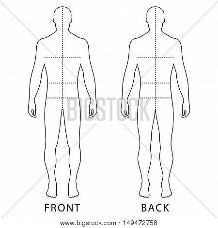 Fashion man's outlined template figure silhouette (front & back view) with marked body's sizes lines vector illustration isolated on white background