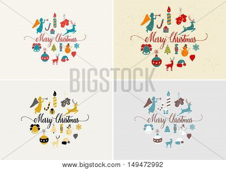 Merry Christmas decoration and card design. Happy New Year design elements. Vintage symbols of pastel deer, bell, snowflake, bow, tree, snowman. Holiday hand drawn vector icons set.