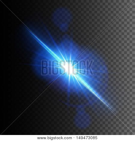 Blue Lens Flare, Vector glowing light effect