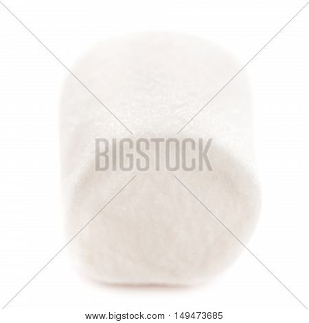 One Fluffy white marshmallow macro isolated over white background. Single white marshmallow