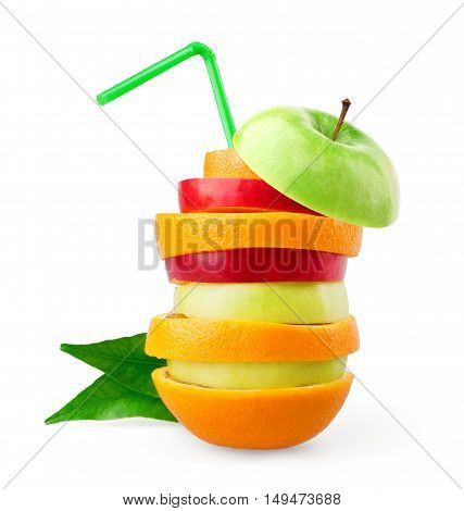 Fruits. Stack of mixed fruit slices on white background. Food concept. Fresh food
