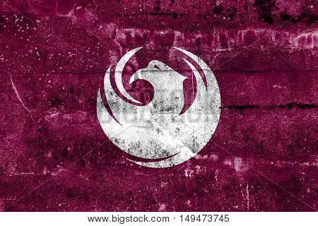 Flag Of Phoenix, Arizona, Usa, Painted On Dirty Wall