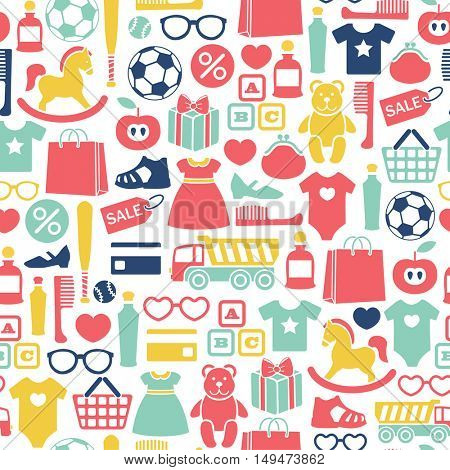 seamless pattern with kids shopping icons