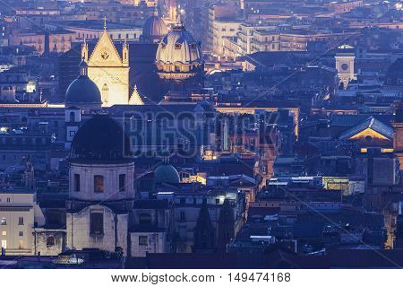 Naples panorama at sunrise. Naples Campania Italy.