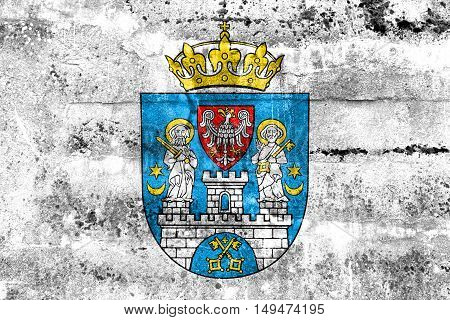 Flag Of Poznan, Poland, Painted On Dirty Wall