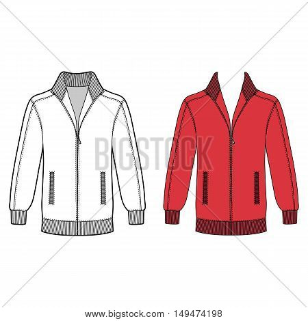 Long sleeve jacket with zipper outlined template (front view) vector illustration isolated on white background