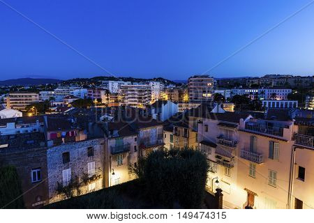 Panorama of Cannes at night. Cannes Provence-Alpes-Cote d'Azur France