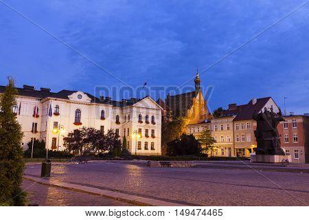 Old town square and City Hall in Bydgoszcz. Bydgoszcz Kuyavian-Pomeranian Poland.