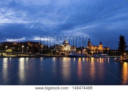 Szczecin panorama across Oder River. Szczecin West Pomeranian Poland
