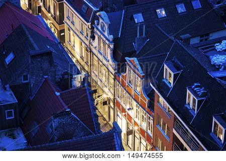 Aerial view of a street in Ghent. Ghent Flemish Region Belgium.
