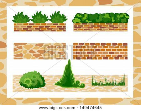 Set of elements for landscape design. Different options of masonry and garden plants.  Vector illustration. Horizontal  location.