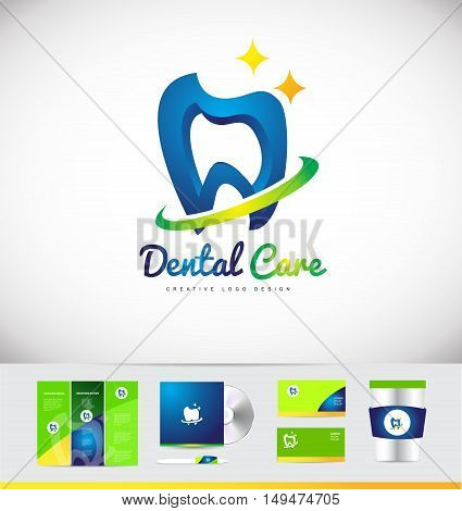 Dental dentist tooth vector logo icon design corporate identity set cd brochure business card