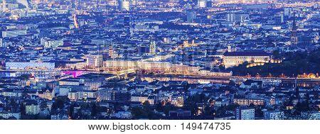 Linz panorama at night. Linz Upper Austria Austria.